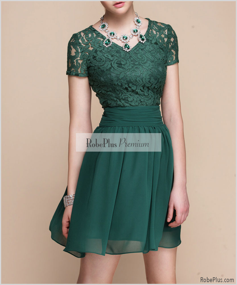 Green Fit And Flare Dress - Green Lace Dress With V Neck on Luulla